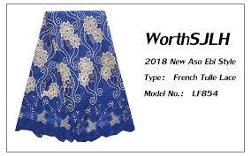 Royal Blue <b>Latest African Lace</b> Fabric 2018 <b>Nigerian</b> White High ...