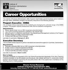 institute of business administration karachi required program institute of business administration karachi required program executive and executive secretary