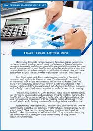 Finance Personal Statement Sample