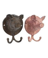 wall decor orleanscrimsomgardenwallfloral pink amp brown pig cast iron wall hook set