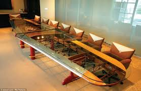 motoarts newest wing conference table pictured was created using parts from planes made by aviation themed furniture