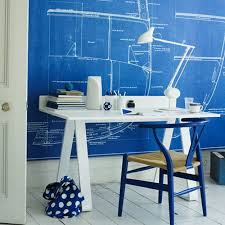 good looking design ideas of home office with rectangle shape white wooden table and combine with blue white office space