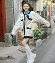 New arrival 2019 spring <b>women's</b> plaid tweed <b>coat</b> Fashion sweet ...