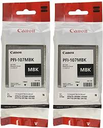 Canon PFI-107MBK Ink Cartridge Matte Black - <b>2 Packs in</b> Retail ...