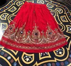 Bohemian <b>Women's Red Beach</b> Skirt Sequin Work A-Line Boho ...