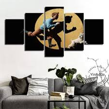 <b>HD Prints</b> Abstract Cartoon Canvas Painting 5 Piece TinTin ...