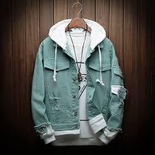 Denim Jacket Men <b>Spring Autumn Fashion</b> Hole Hip Hop Cowboy ...