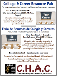 college career fair c h a c flagstaff the coconino county hispanic advisory council chac will present its second annual college career resource fair from 11 a m to 2 p m
