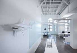 when blue white office space