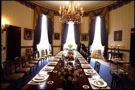 a white house usher prepares the blue room for a luncheon for the european commission may blue room white