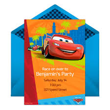 cars party online invitation disney family