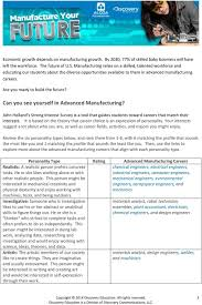 anticipation guide advanced manufacturing pdf can you see yourself in advanced manufacturing john holland s strong interest survey is a