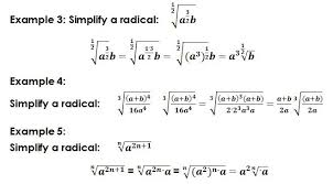 Radicals - Basic math operations, simplification, equations, exponentsexample with radicals