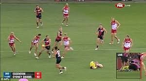 AFL umpire hit from behind by Nick Malceski and has to be ... via Relatably.com