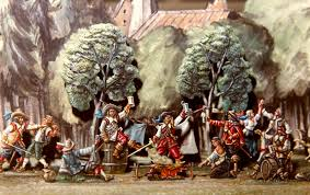 military history so war is not only about fighting here we show a post battle frolic of stalwart warriors during the thirty year s war in