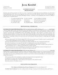 car salesperson resume auto sales resume