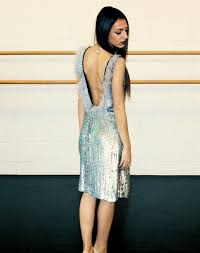 frockology less stuff more life rfr designer spotlight model wearing silver sequin dress by marika brose photographed by athena bates