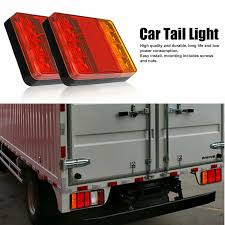 <b>2pcs</b> Waterproof 8 <b>LED</b> Tail Light <b>Rear</b> Lamps Pair Boat Trailer 12V ...