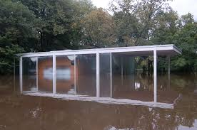 A Virtual Look Into Mies van der Rohe    s Farnsworth House   ArchDailyFlood waters surround the Farnsworth House  Image via National Trust for Historic Preservation
