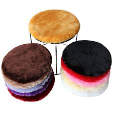 High Quality <b>Faux Fur Round Chair</b> Seat Cushion Winter Plush <b>Stool</b> ...