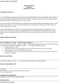 team leader cv example   icover org ukavailable on request
