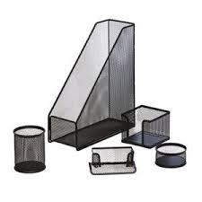 J.Burrows <b>Metal Mesh Desk</b> Accessory Set 5 Piece <b>Black</b> | Officeworks