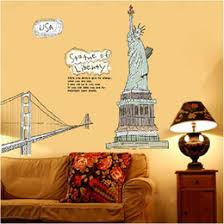liberty bedroom wall mural: the statue of liberty wall stickers landscape wall decals wallpaper art for bedroom living room home decor ws
