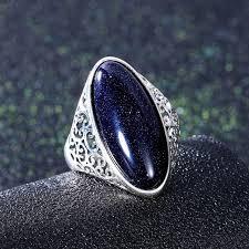 Online Shop Women's Ring <b>925 Sterling Silver</b> Jewelry Vintage Blue ...