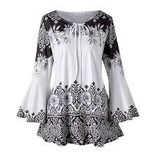 Bovake <b>Womens</b> Loose Printed 3/4 Flare Sleeve Blouse , Ladies ...
