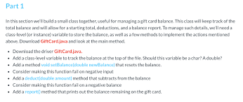 Solved: Java Template Public Class GiftCard { // Instance ... | Chegg ...
