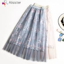 Quality <b>Floral</b> Embroidery <b>Tulle Skirts Women</b> Vintage A line Lace ...