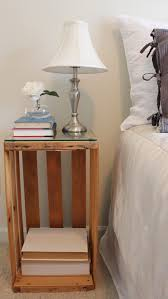 ideas bedside tables pinterest night: diy fruit crate turned night stand bedside table loveee the glass cut to