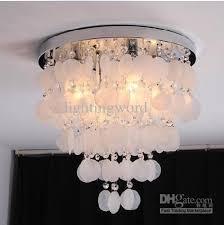 shining white shell creative ceiling light bedroom dining shell light chandelier office light fitting cheap ceiling lighting