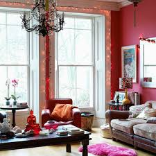 boho chic living room with red walls chic living room
