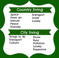 The advantages and disadvantages of country anc city life