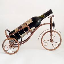 Cast Wrought <b>Iron</b> Wine Rack <b>Bike Shape</b> Alcohol Bottle Holder ...