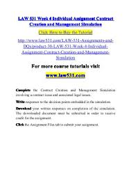 LAW     Week   Individual Assignment Contract Creation and Management Simulation