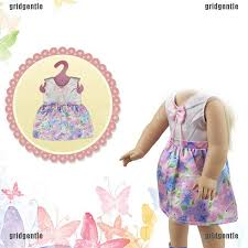 43cm doll flower long dress with hat for 18 inch girl wearing baby play up