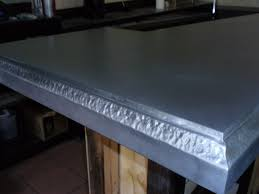 images zinc table top:  hand detailed edge on zinc table top a