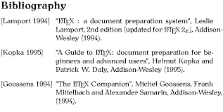 Creating a Bibliography Image showing typeset output  click here for a more detailed description