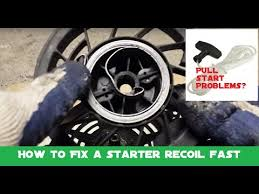 How to fix a <b>pull starter recoil spring</b> and replace a stuck or limp <b>pull</b> ...