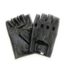 driving gloves <b>half finger fingerless</b> knuckle holes for men <b>genuine</b> ...