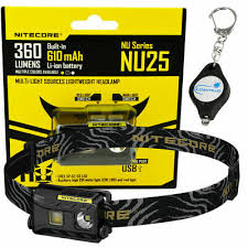 <b>Nitecore NU25</b> 360 Lumens CRI <b>LED</b> Rechargeable Headlamp ...