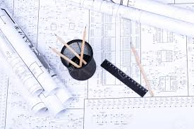 Drawing Electric Circuits Blueprint Basket Ruler And Pencil On Drawing Of Electrical