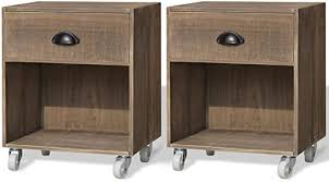 Anself Pair <b>Bedside Table</b> Units <b>Nightstand</b> on Wheels <b>Brown Solid</b> ...