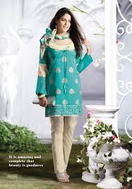 blue full sleeve cotton short length salwar kameez  cotton unstitched dress material this season your look gets better definition just a little attention to detail be your own style icon