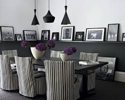 Floral Dining Room Chairs Trendy Black And White Dining Room With Chairs With Purple Floral Decoration And Black Pendant Lamps Fresh Dining Room Set To Inspire You Black And White