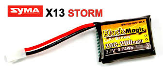 <b>Аккумулятор Black Magic</b> LiPo <b>Battery</b> 3.7V 200mAh 20C Syma <b>X13</b> ...
