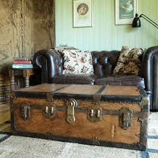 room vintage chest coffee table: vintage steamer trunk coffee table storage trunk rustic industrial travel trunk