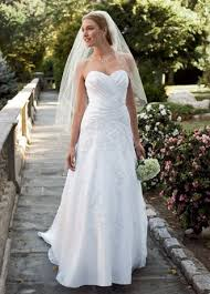 Petite <b>Satin</b> Gown with Lace and <b>Beaded Appliques</b> | David's <b>Bridal</b>